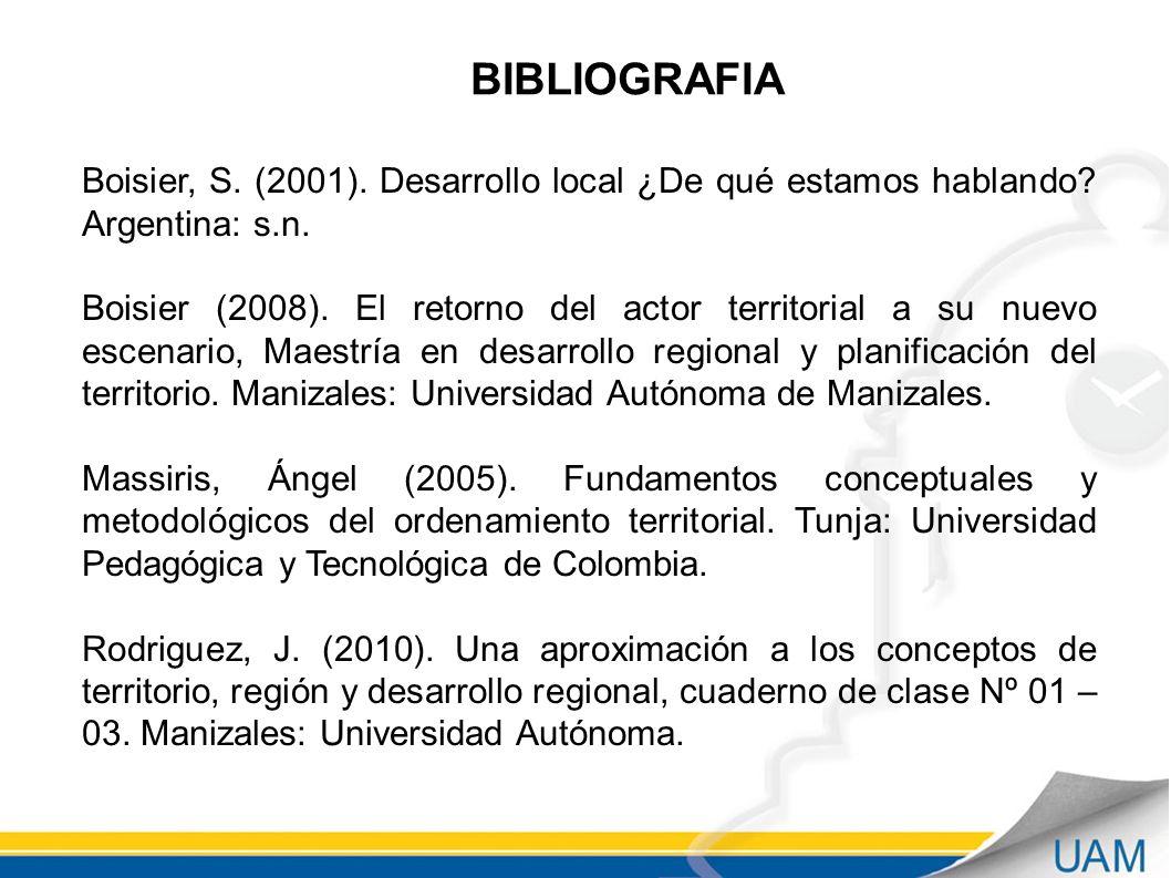 BIBLIOGRAFIA Boisier, S. (2001). Desarrollo local ¿De qué estamos hablando Argentina: s.n.