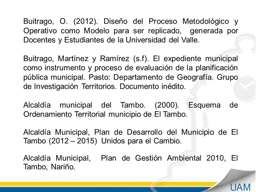 Buitrago, O. (2012). Diseño del Proceso Metodológico y Operativo como Modelo para ser replicado, generada por Docentes y Estudiantes de la Universidad del Valle.