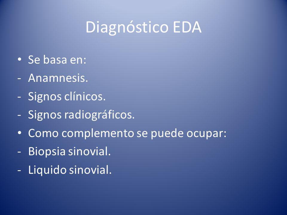 Diagnóstico EDA Se basa en: Anamnesis. Signos clínicos.