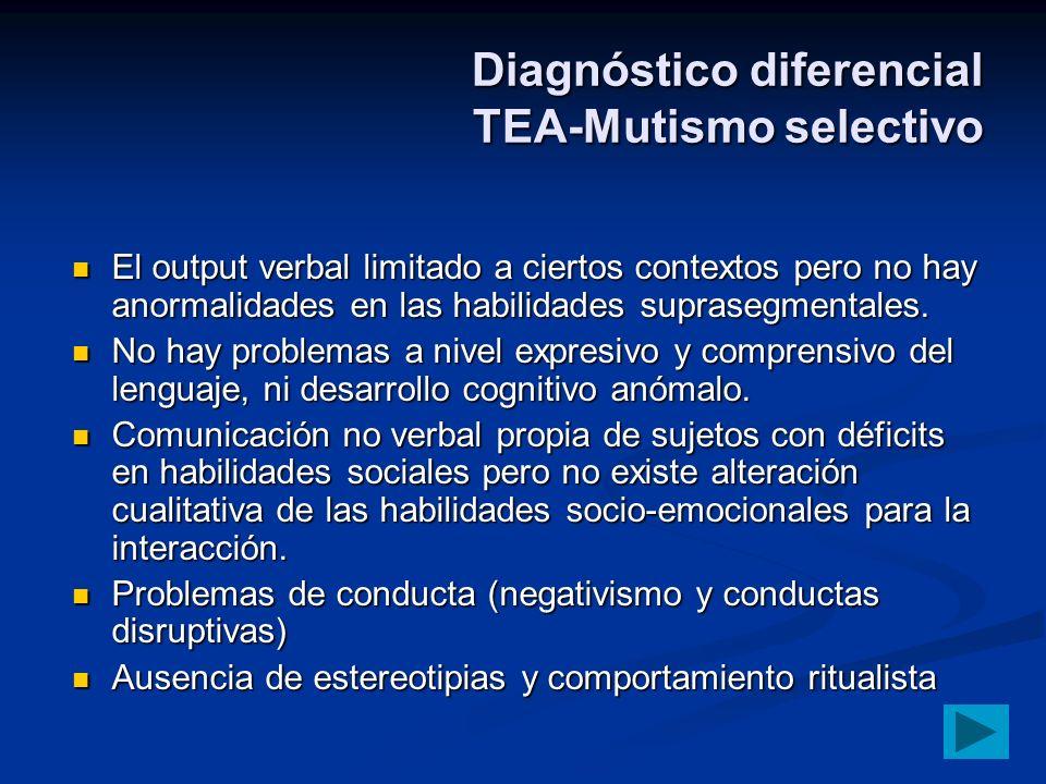 Diagnóstico diferencial TEA-Mutismo selectivo