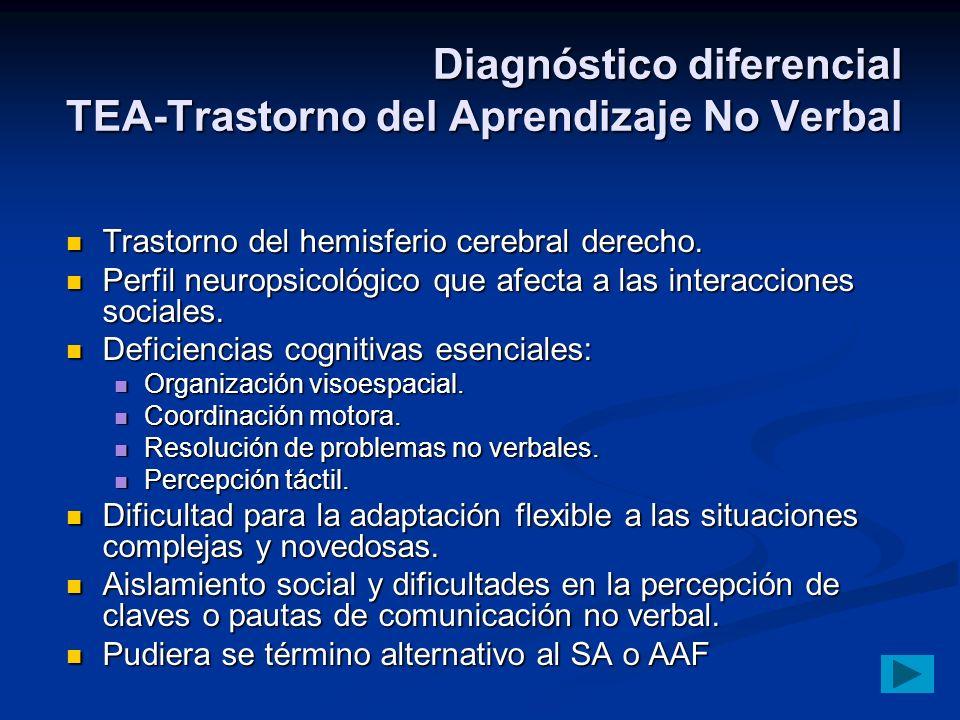 Diagnóstico diferencial TEA-Trastorno del Aprendizaje No Verbal