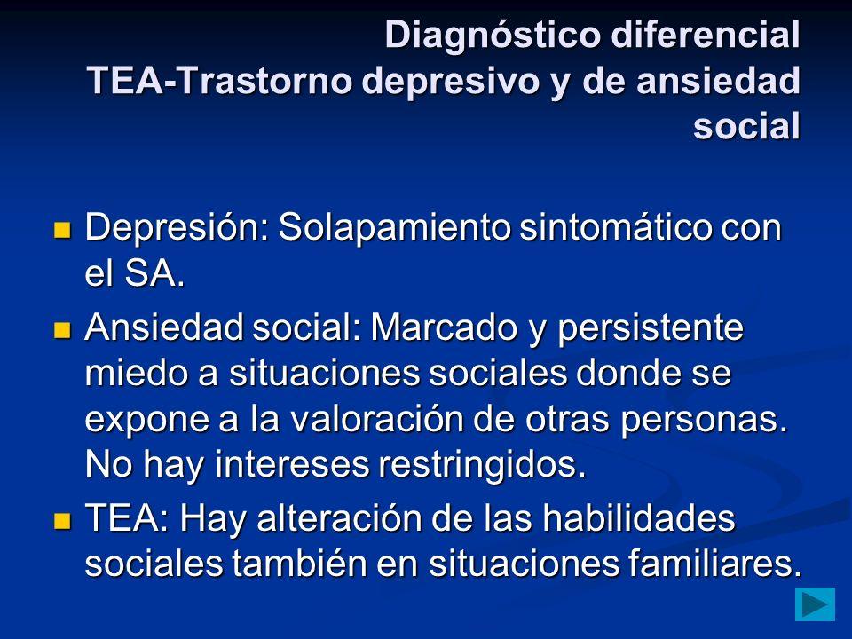Diagnóstico diferencial TEA-Trastorno depresivo y de ansiedad social