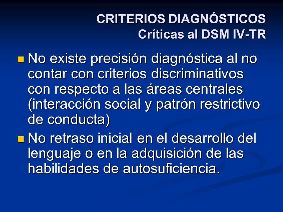 CRITERIOS DIAGNÓSTICOS Críticas al DSM IV-TR