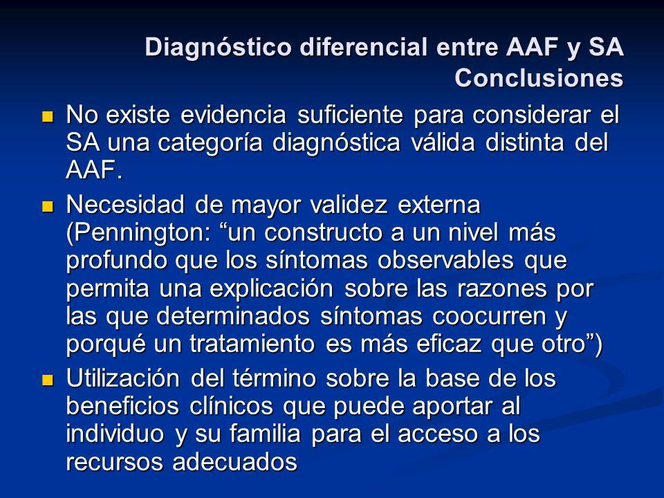 Diagnóstico diferencial entre AAF y SA Conclusiones