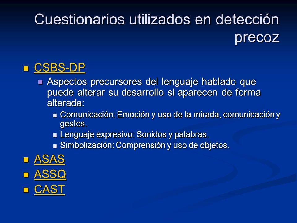 Cuestionarios utilizados en detección precoz