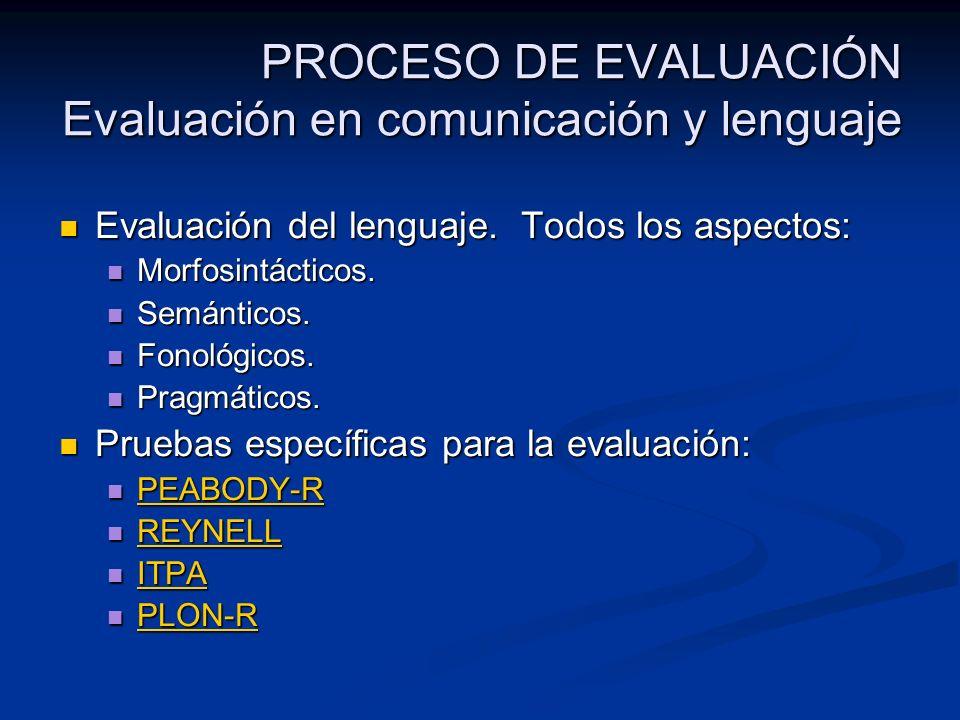 PROCESO DE EVALUACIÓN Evaluación en comunicación y lenguaje