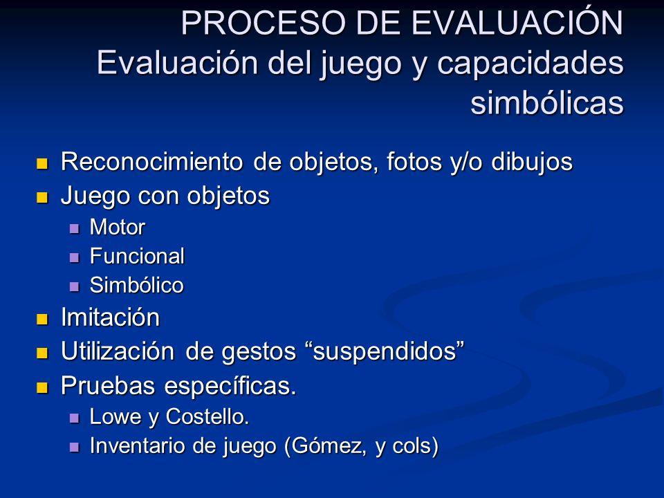 PROCESO DE EVALUACIÓN Evaluación del juego y capacidades simbólicas