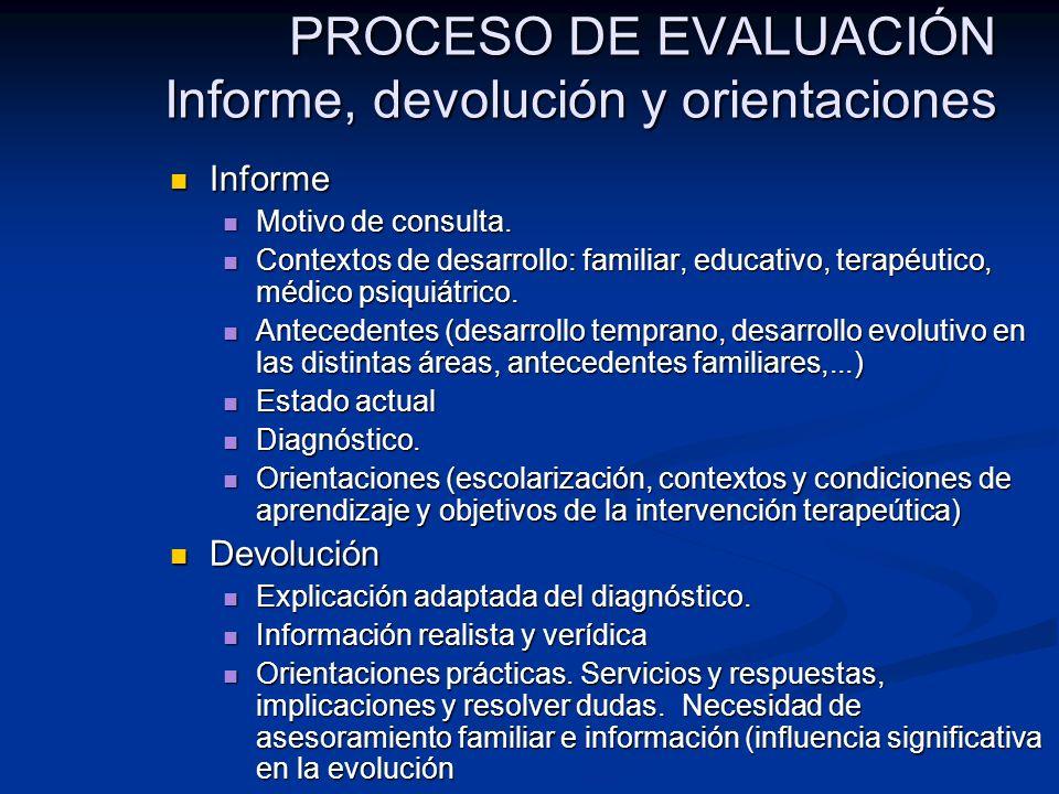 PROCESO DE EVALUACIÓN Informe, devolución y orientaciones
