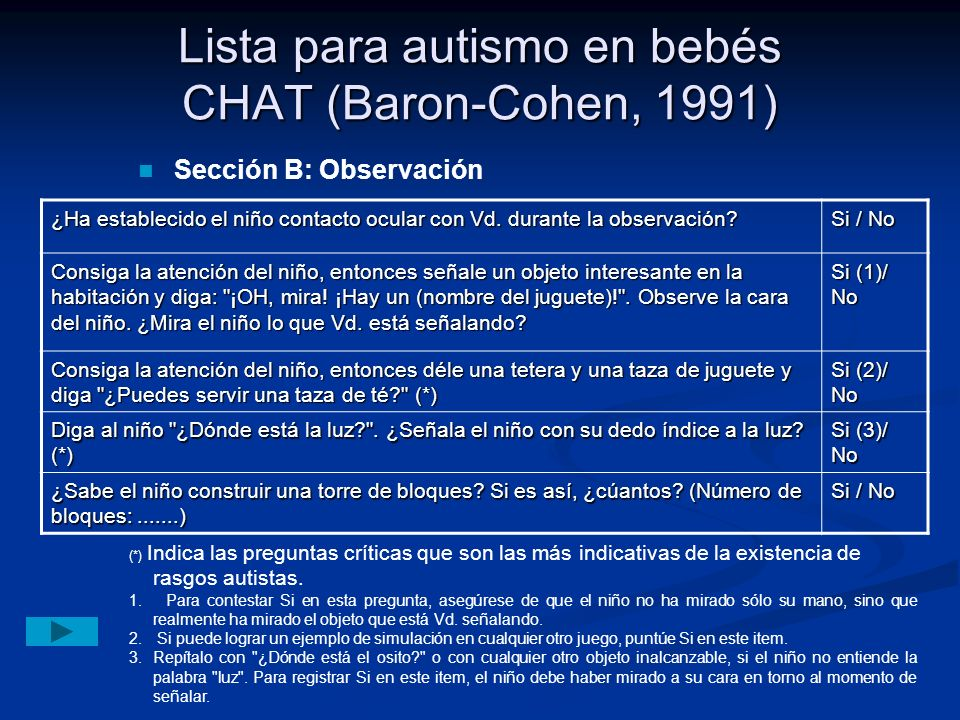 Lista para autismo en bebés CHAT (Baron-Cohen, 1991)
