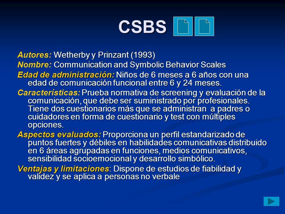 CSBS Autores: Wetherby y Prinzant (1993)