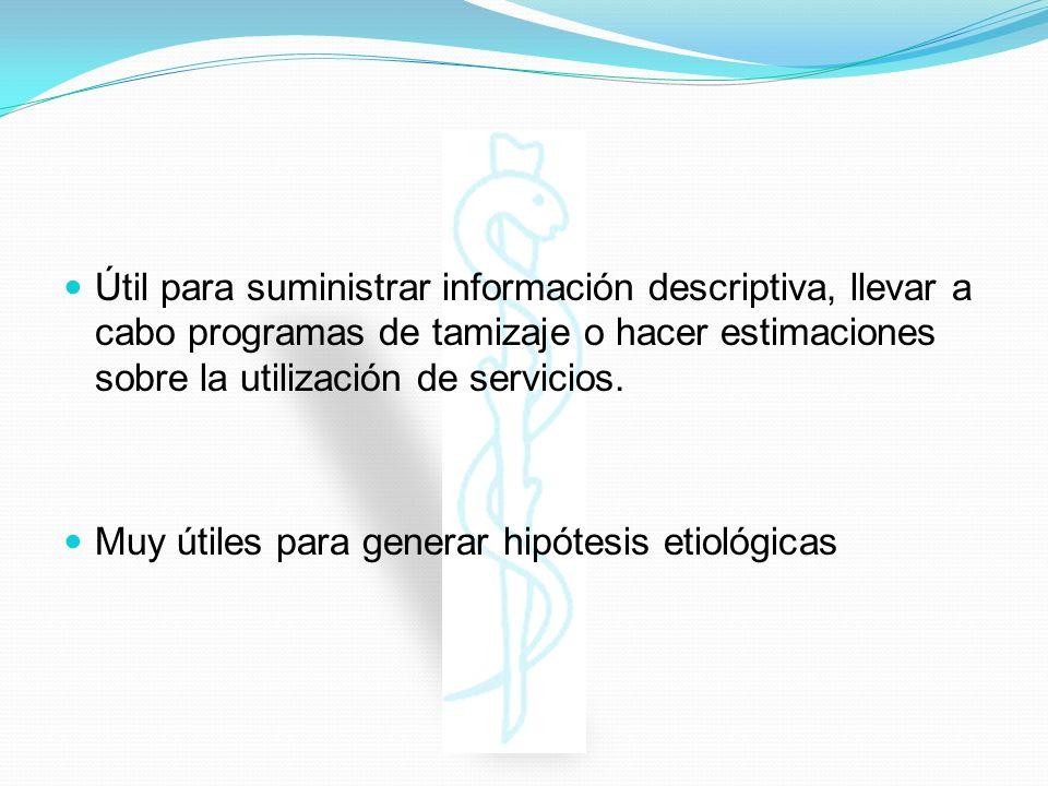 Útil para suministrar información descriptiva, llevar a cabo programas de tamizaje o hacer estimaciones sobre la utilización de servicios.