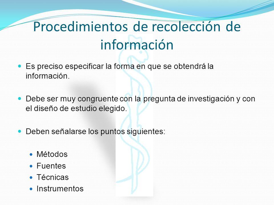 Procedimientos de recolección de información