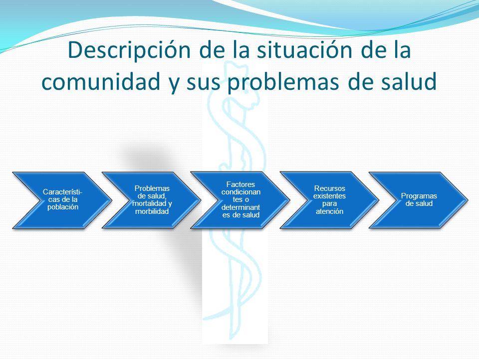 Descripción de la situación de la comunidad y sus problemas de salud