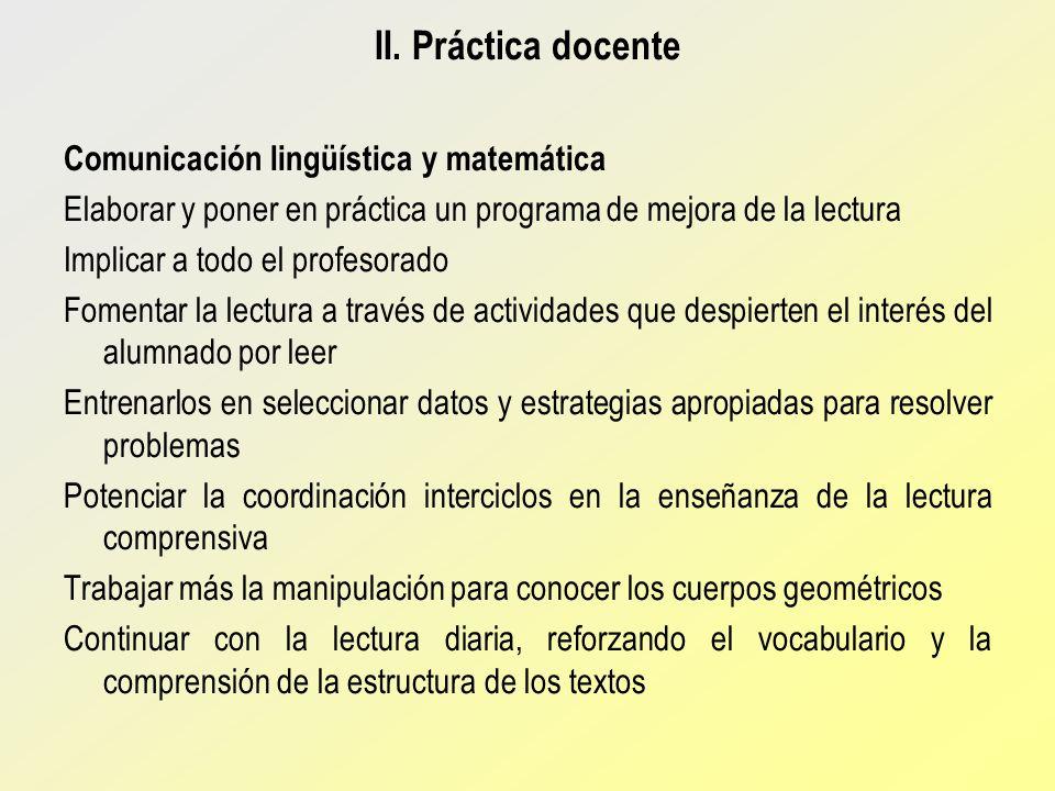 II. Práctica docente Comunicación lingüística y matemática
