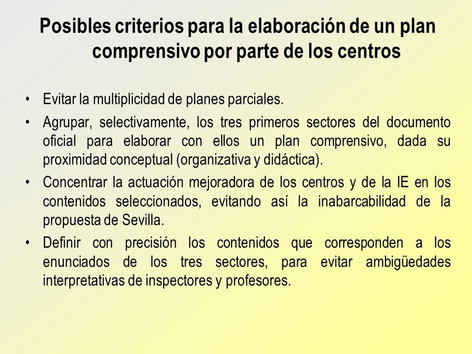 Posibles criterios para la elaboración de un plan comprensivo por parte de los centros