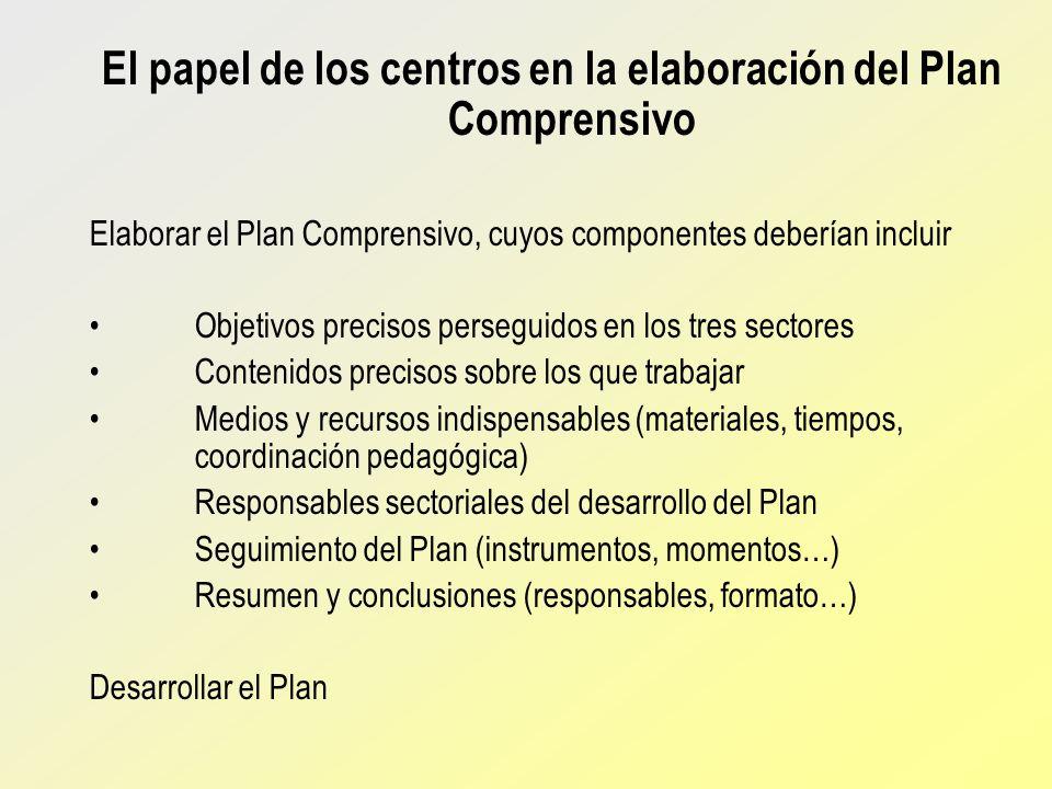 El papel de los centros en la elaboración del Plan Comprensivo
