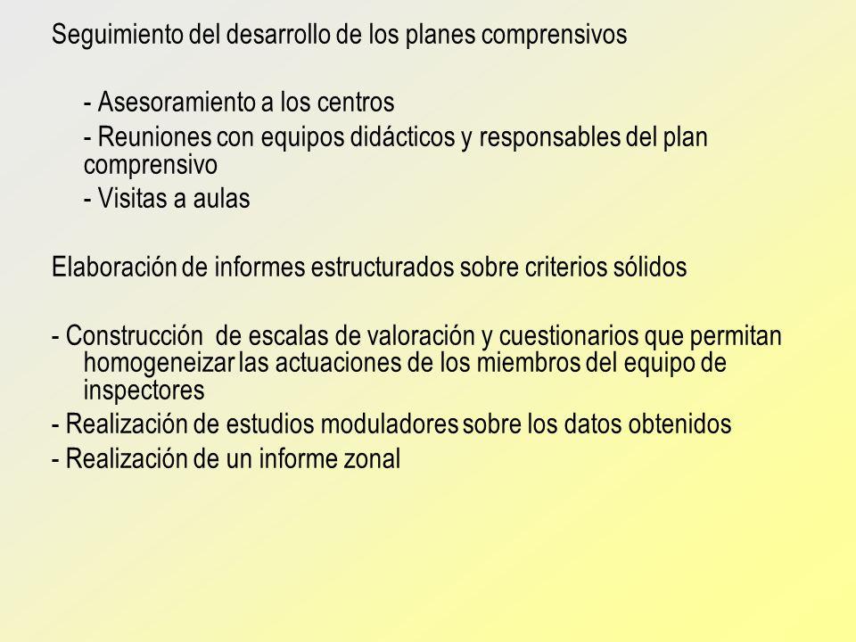 Seguimiento del desarrollo de los planes comprensivos