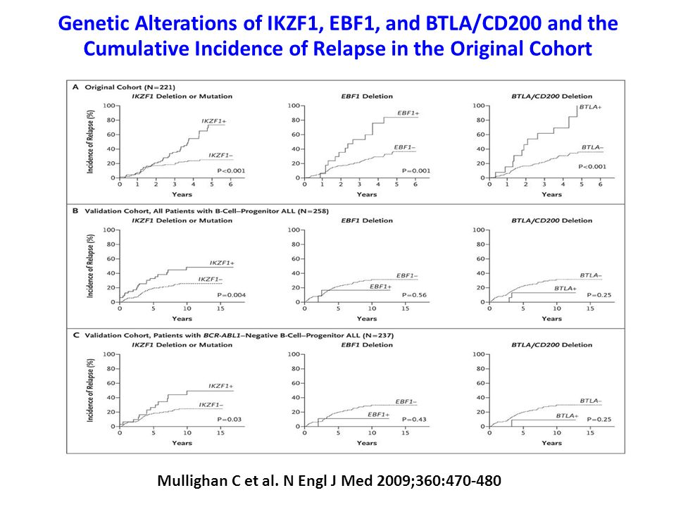 Genetic Alterations of IKZF1, EBF1, and BTLA/CD200 and the Cumulative Incidence of Relapse in the Original Cohort
