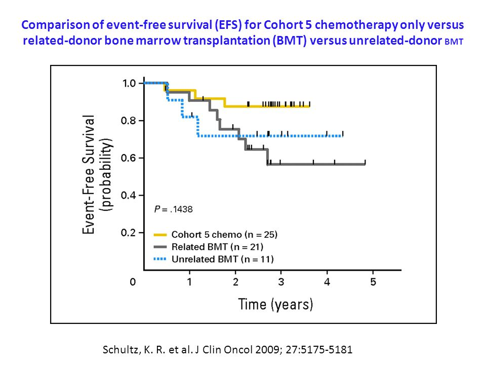 Comparison of event-free survival (EFS) for Cohort 5 chemotherapy only versus related-donor bone marrow transplantation (BMT) versus unrelated-donor BMT