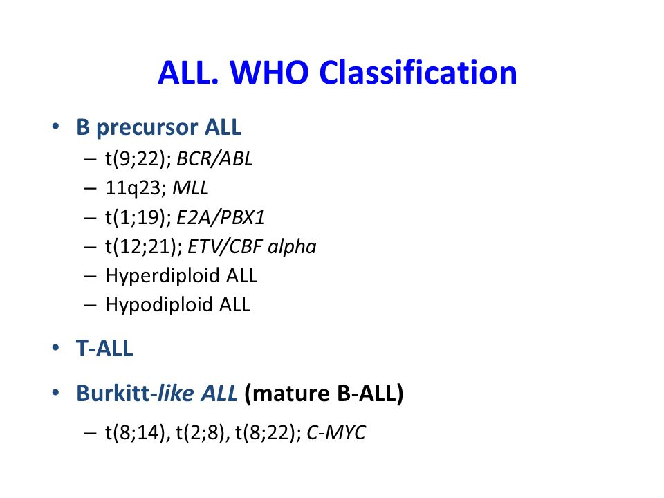 ALL. WHO Classification