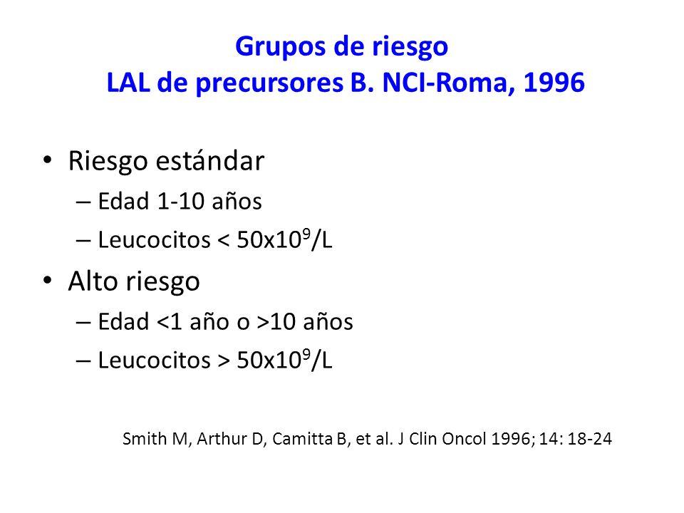 Grupos de riesgo LAL de precursores B. NCI-Roma, 1996