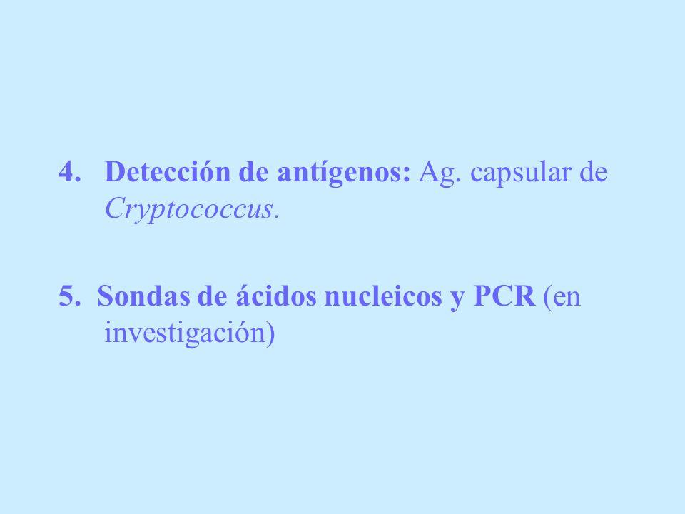 Detección de antígenos: Ag. capsular de Cryptococcus.