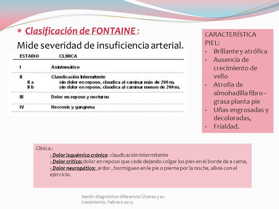 Clasificación de FONTAINE : Mide severidad de insuficiencia arterial.