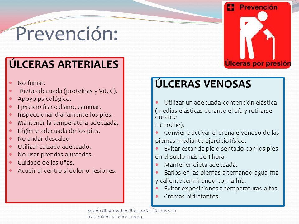 Prevención: ÚLCERAS ARTERIALES ÚLCERAS VENOSAS No fumar.