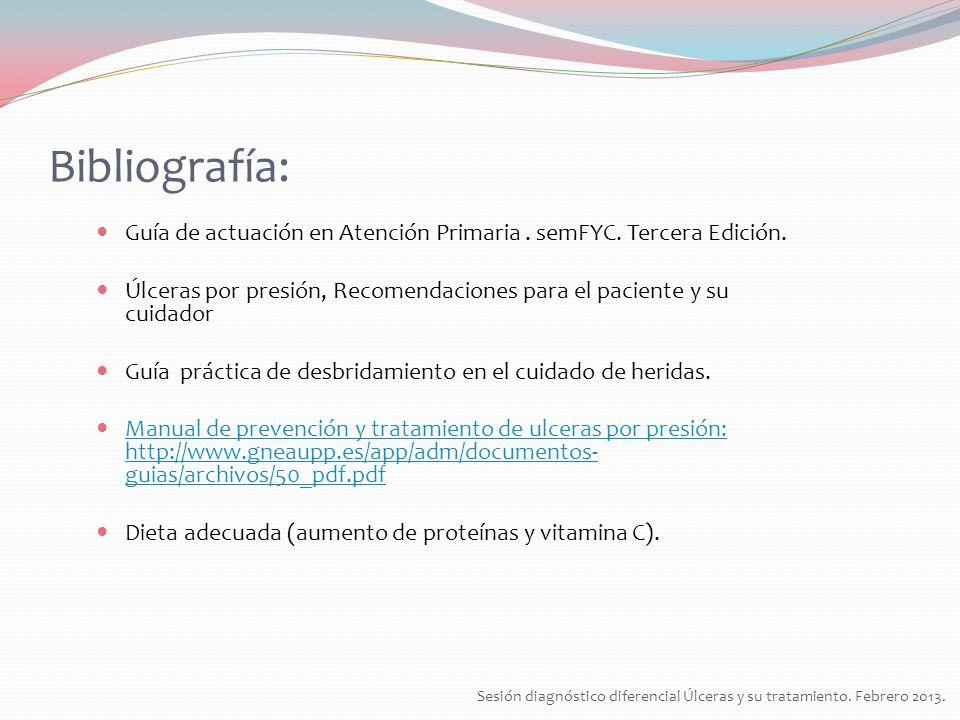 Bibliografía: Guía de actuación en Atención Primaria . semFYC. Tercera Edición. Úlceras por presión, Recomendaciones para el paciente y su cuidador.