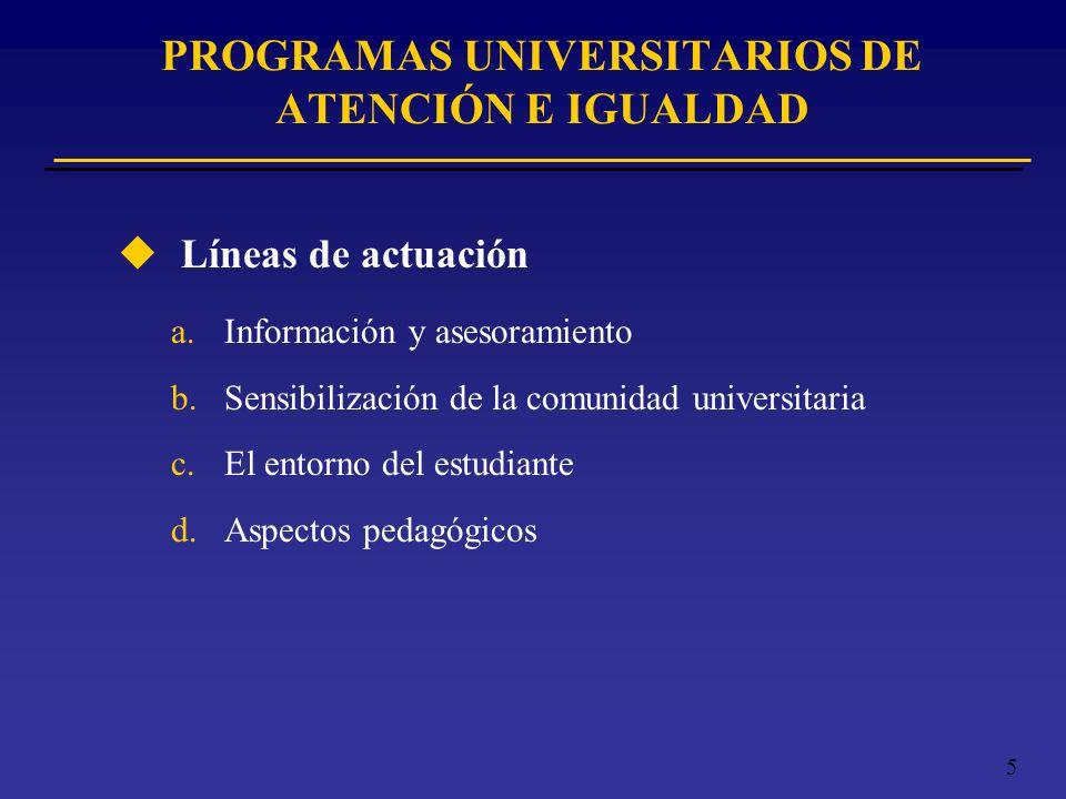 PROGRAMAS UNIVERSITARIOS DE ATENCIÓN E IGUALDAD
