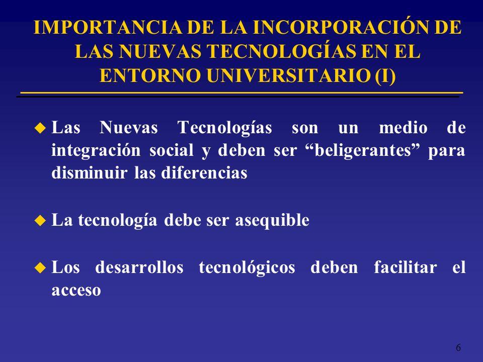 IMPORTANCIA DE LA INCORPORACIÓN DE LAS NUEVAS TECNOLOGÍAS EN EL ENTORNO UNIVERSITARIO (I)