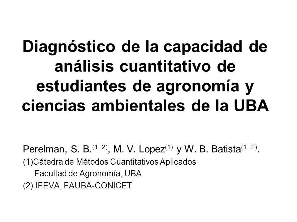 Diagnóstico de la capacidad de análisis cuantitativo de estudiantes de agronomía y ciencias ambientales de la UBA