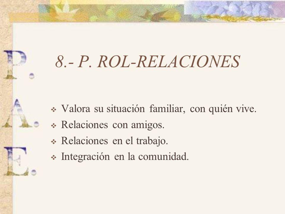 8.- P. ROL-RELACIONES Valora su situación familiar, con quién vive.