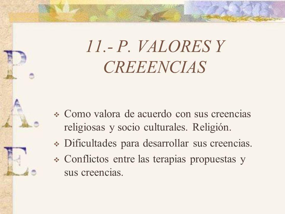 11.- P. VALORES Y CREEENCIAS