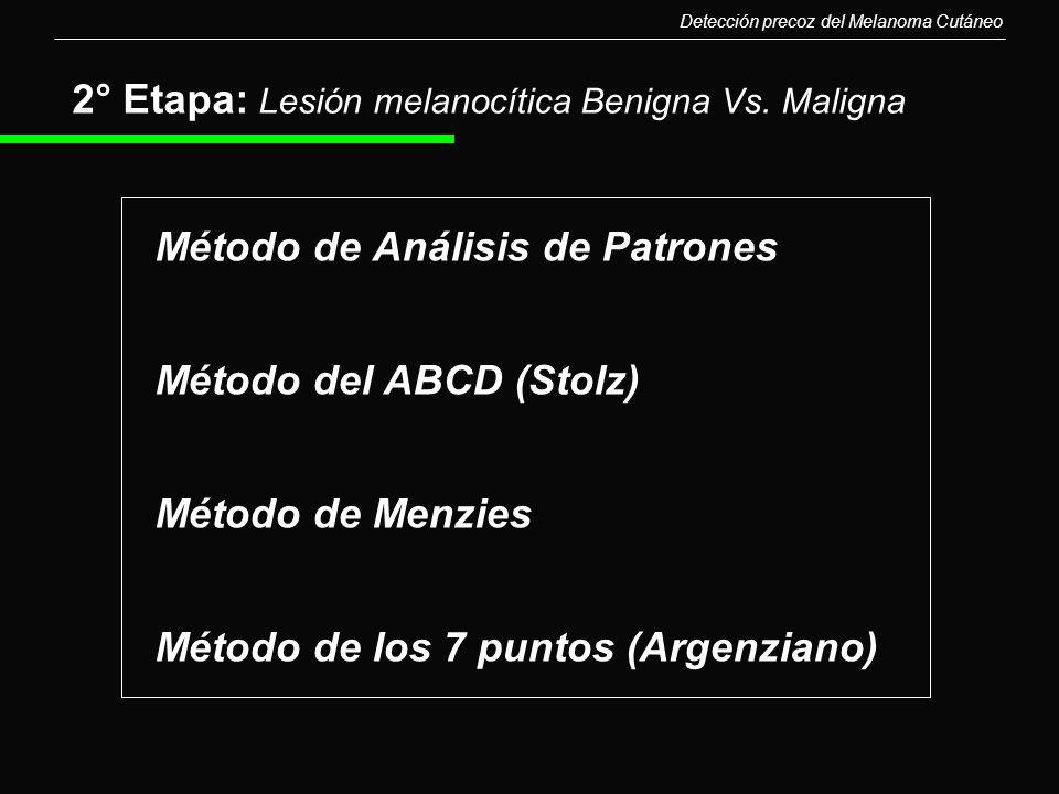 2° Etapa: Lesión melanocítica Benigna Vs. Maligna