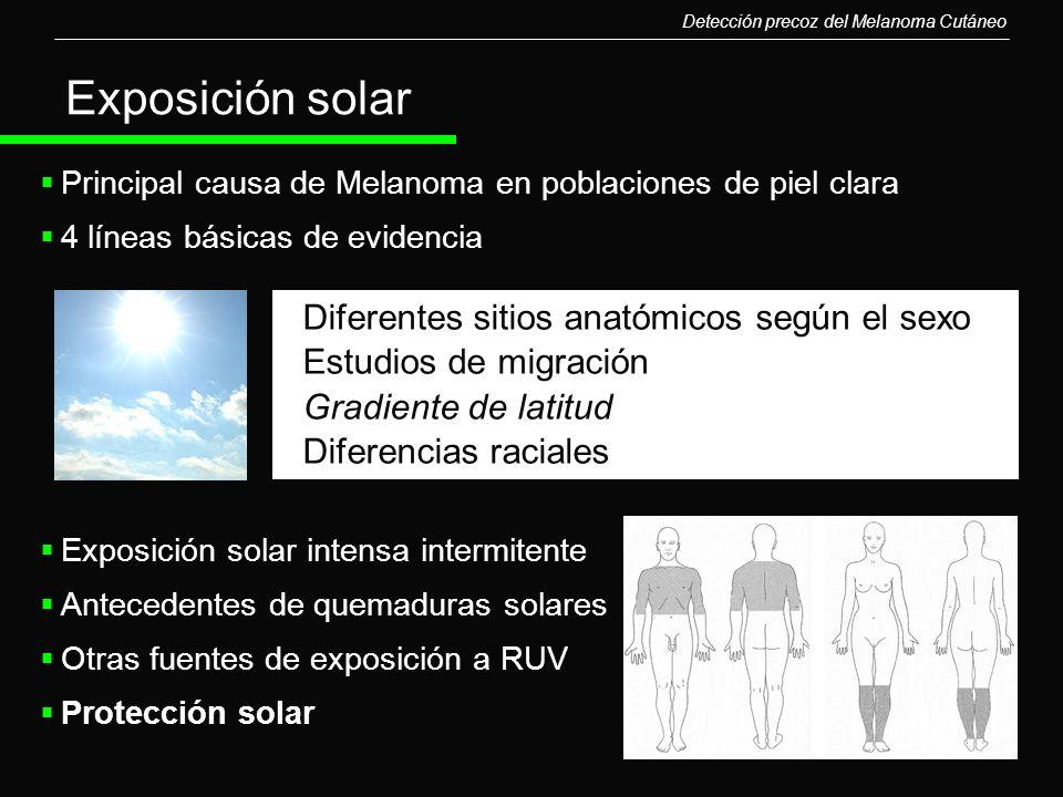 Exposición solar Diferentes sitios anatómicos según el sexo
