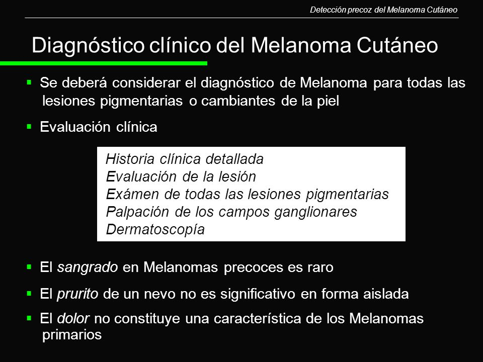 Diagnóstico clínico del Melanoma Cutáneo