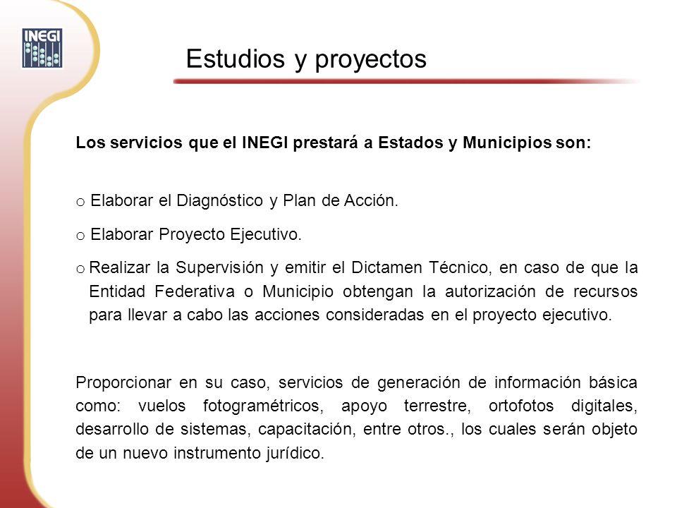 Estudios y proyectos Los servicios que el INEGI prestará a Estados y Municipios son: Elaborar el Diagnóstico y Plan de Acción.