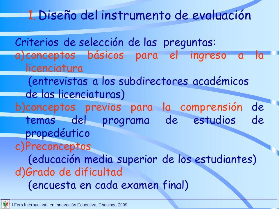 Diseño del instrumento de evaluación