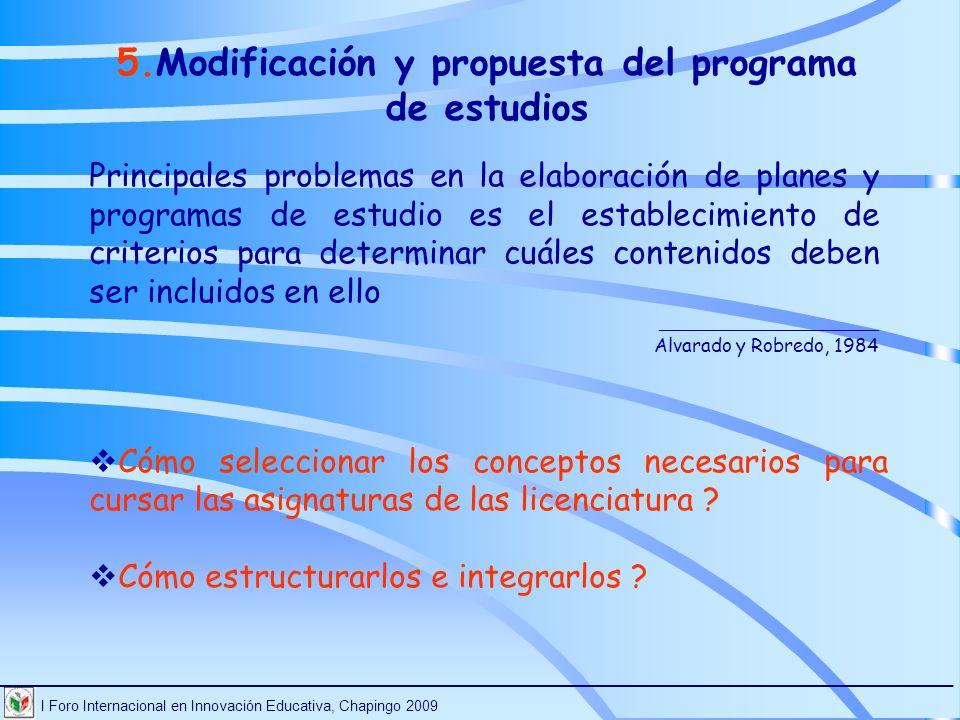 Modificación y propuesta del programa