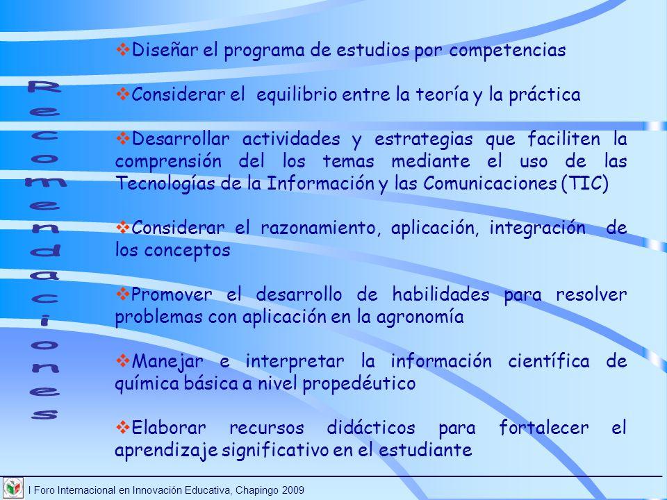 Recomendaciones Diseñar el programa de estudios por competencias