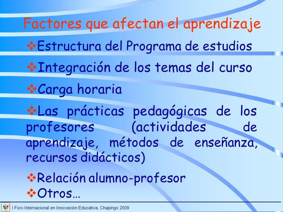 Factores que afectan el aprendizaje