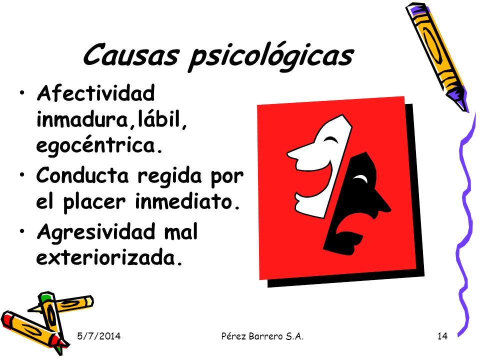 Causas psicológicas Afectividad inmadura,lábil, egocéntrica.