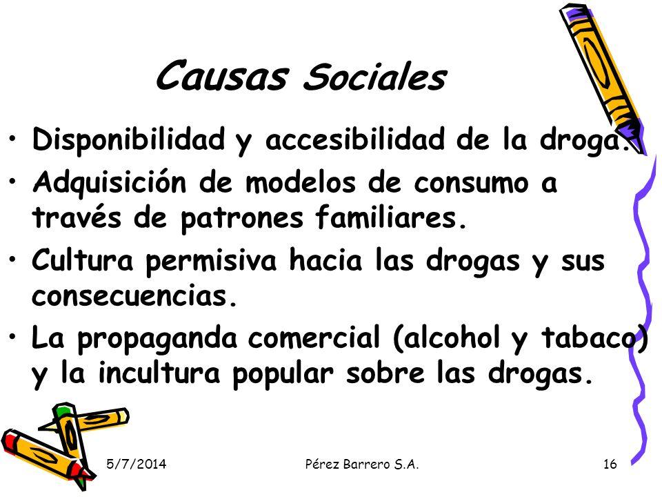 Causas Sociales Disponibilidad y accesibilidad de la droga.