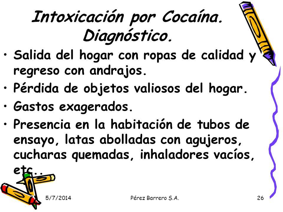 Intoxicación por Cocaína. Diagnóstico.