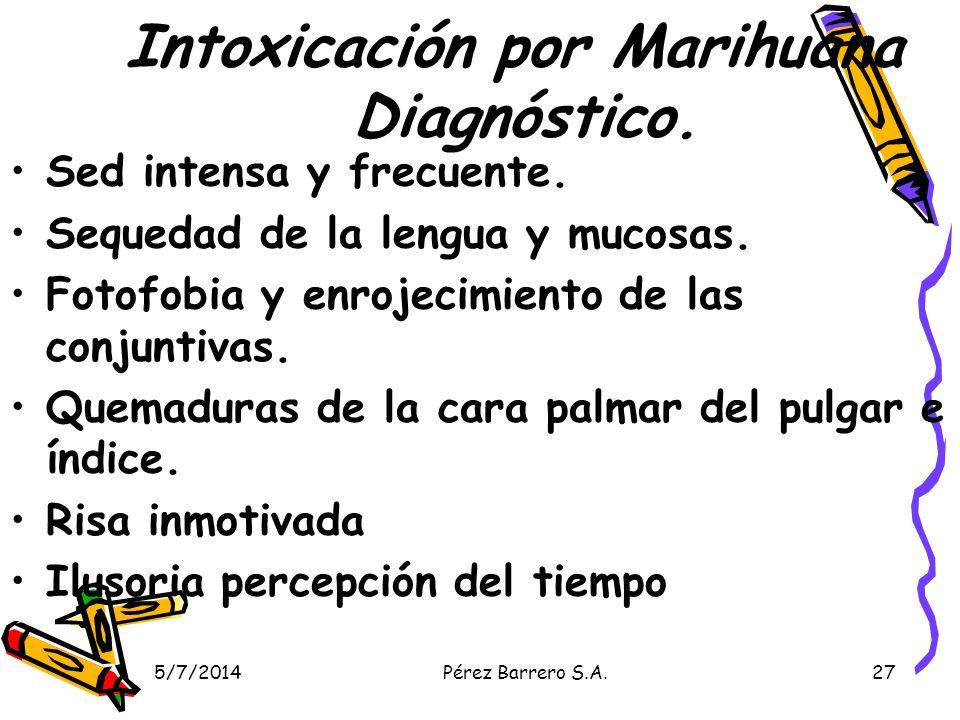 Intoxicación por Marihuana Diagnóstico.