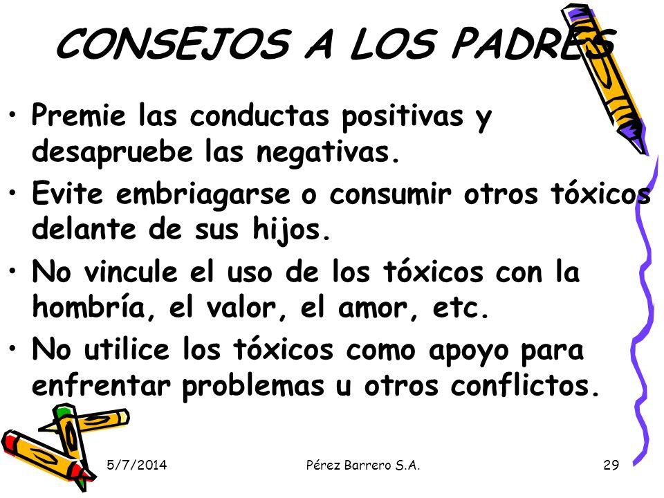 CONSEJOS A LOS PADRES Premie las conductas positivas y desapruebe las negativas. Evite embriagarse o consumir otros tóxicos delante de sus hijos.