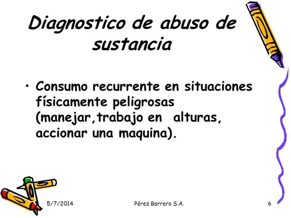Diagnostico de abuso de sustancia