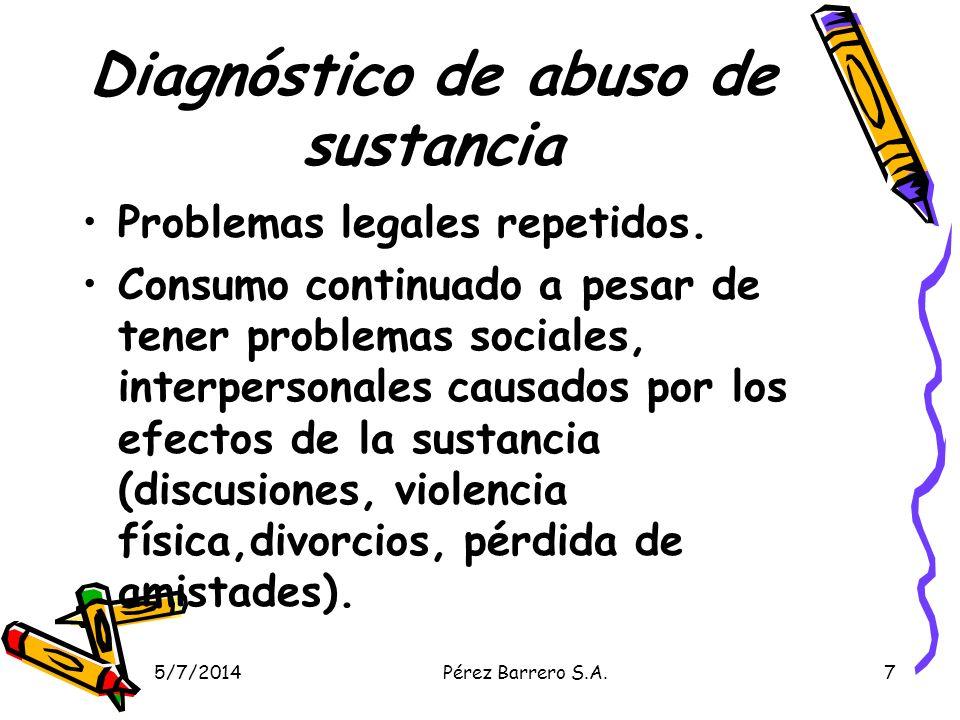 Diagnóstico de abuso de sustancia