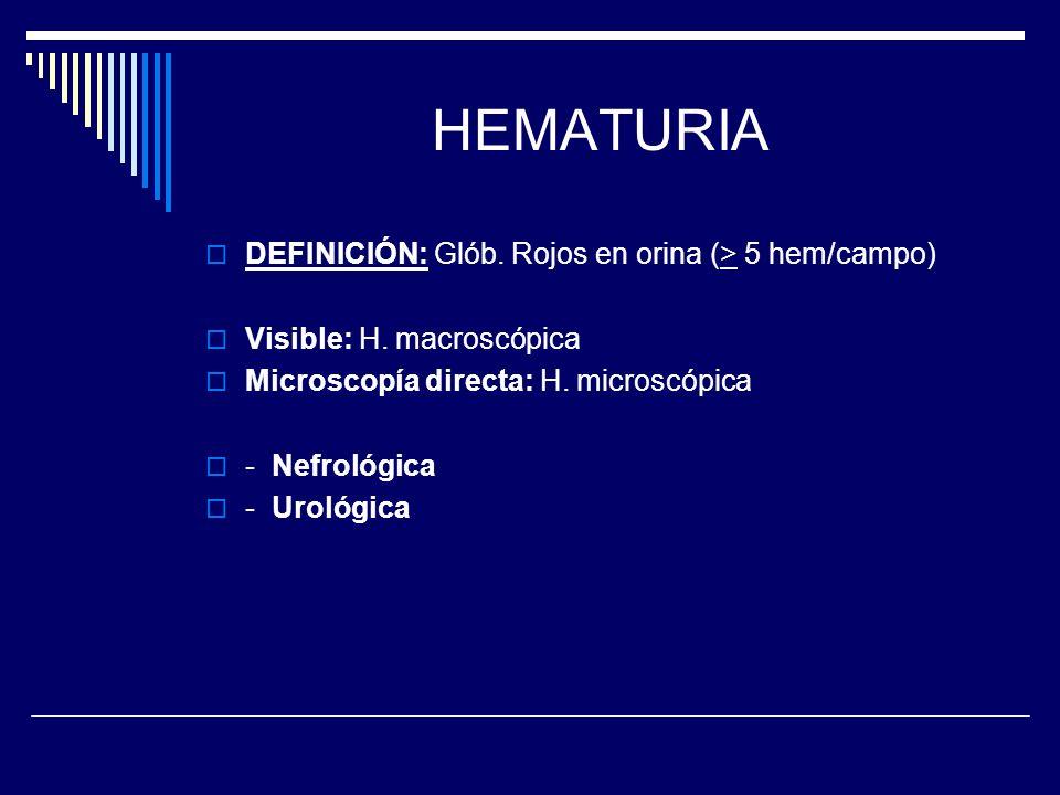 HEMATURIA DEFINICIÓN: Glób. Rojos en orina (> 5 hem/campo)